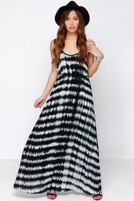 In Festival Force Black Tie-Dye Maxi Dress at Lulus.com!