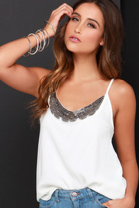 Dee Elle Embellish I May Ivory Beaded Top at Lulus.com!