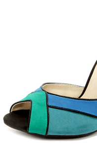 Shoe Republic LA Vito Blue Color Block Peep Toe Heels at Lulus.com!