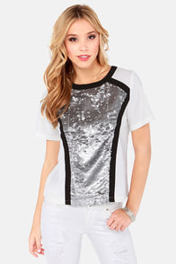 Where the Party Matte? Ivory and Silver Sequin Top at Lulus.com!