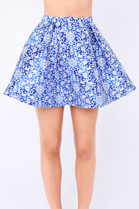 At Full Volume Ivory and Blue Jacquard Skirt at Lulus.com!