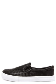 Daily Shuffle Black Perforated Slip-On Sneakers at Lulus.com!