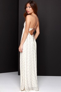 O'Neill Dean Cream Print Maxi Dress at Lulus.com!