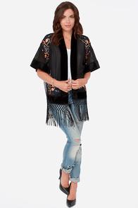 Forest Fleur Black Kimono Top at Lulus.com!