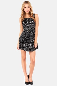 Tucson to Something Ivory and Black Print Dress at Lulus.com!