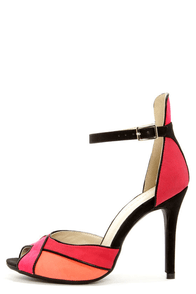Shoe Republic LA Vito Red Color Block Peep Toe Heels