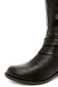 Soda Doric Black and Gold Knee-High Riding Boots at Lulus.com!