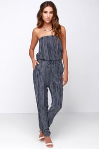 Running Lines Ivory and Navy Blue Striped Jumpsuit at Lulus.com!