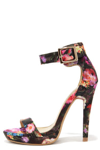 Garden Gait Black Floral Print Ankle Strap Heels at Lulus.com!