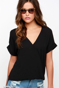 Wrap Star Black High-Low Top at Lulus.com!