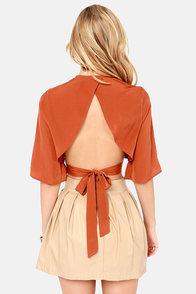 LULUS Exclusive Tie the Hot Rust Orange Crop Top at Lulus.com!