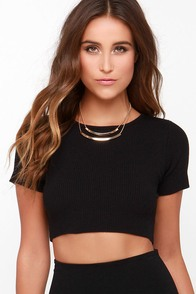 Got a Hold On Me Black Crop Top at Lulus.com!