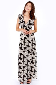 Fancy Drew Beige and Black Print Maxi Dress at Lulus.com!