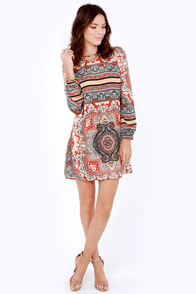 Never Zen Better Red Print Shift Dress at Lulus.com!