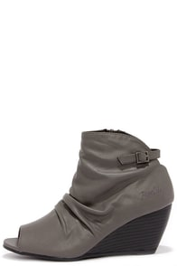Blowfish Byte Grey Peep Toe Wedge Booties at Lulus.com!