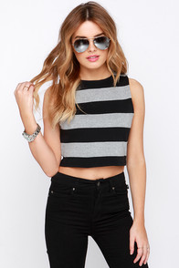 BB Dakota Faline Black and Grey Striped Crop Top at Lulus.com!