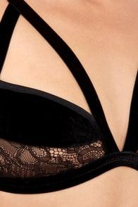 For Love & Lemons Long Line Bondage Black Velvet Bralette at Lulus.com!