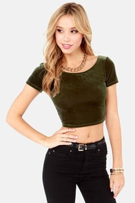 Velvet's Get Physical Olive Green Crop Top at Lulus.com!