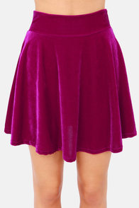 Velvet There Be Light Magenta Velvet Skirt at Lulus.com!