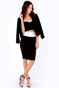 Block the Boat Ivory and Black Pencil Skirt at Lulus.com!