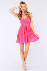 LULUS Exclusive Sash Flow Strapless Candy Pink Dress at Lulus.com!