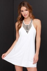 Stun Away Ivory Beaded Dress at Lulus.com!