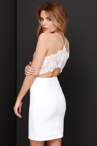 Charm and Lace Ivory Lace Dress at Lulus.com!