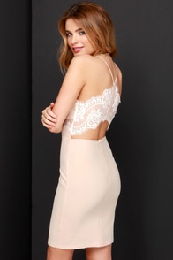 Charm and Lace Peach Lace Dress at Lulus.com!