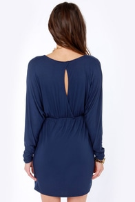 LULUS Exclusive Ruche Decision Navy Blue Dress at Lulus.com!