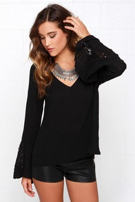 For Sienna Bella Sera Black Long Sleeve Top at Lulus.com!