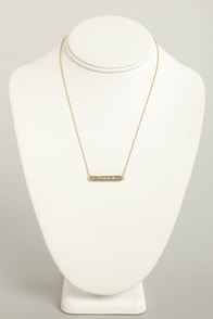 Movie Bar Gold Rhinestone Necklace at Lulus.com!