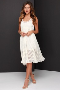 Hazel Moonlit Meadow Cream Lace Midi Dress at Lulus.com!