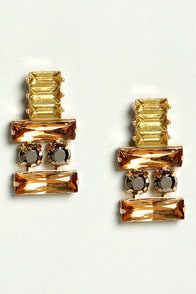 Thrilled To Be Ear Orange Rhinestone Earrings at Lulus.com!