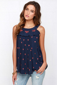 Hazel Dress to Empress Navy Blue and Orange Embroidered Top at Lulus.com!