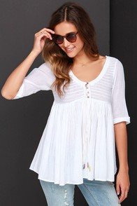 O'Neill Stevie Ivory Babydoll Top at Lulus.com!