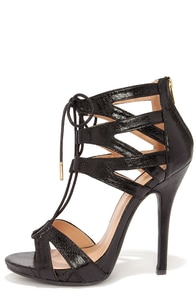 Give Me Fever Black Snakeskin Lace-Up Heels at Lulus.com!
