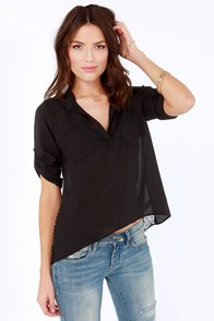 Lucy Love Fifty Fifty Black High-Low Top at Lulus.com!