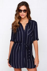 Collar in the Lines Navy Blue Striped Shirt Dress at Lulus.com!