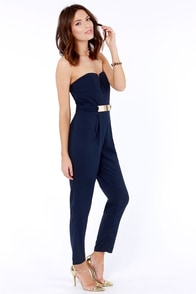 Step Up to the Plate Strapless Navy Blue Jumpsuit at Lulus.com!