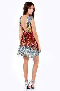 News Flash Red Multi Sequin Dress at Lulus.com!