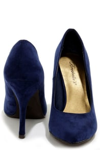 Holly 41 Navy Blue Pointed Pumps at Lulus.com!