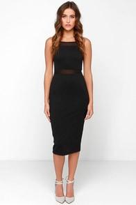 Black Swan Abbey Black Midi Dress at Lulus.com!