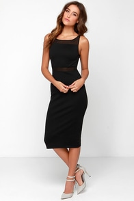Black Swan Abbey Black Midi Dress at Lulus.com!