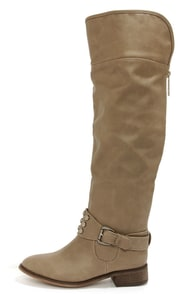 Herley 11 Beige Studded Over the Knee Boots at Lulus.com!