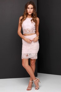Double Time Blush Pink Lace Two-Piece Dress at Lulus.com!