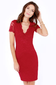 Tour de Allure Red Lace Dress at Lulus.com!