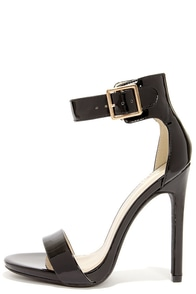 My Delicious Canter Black Patent Ankle Strap Heels at Lulus.com!