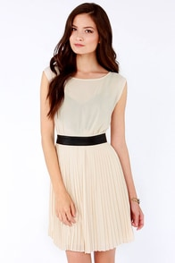 BB Dakota Jean Light Beige Dress at Lulus.com!