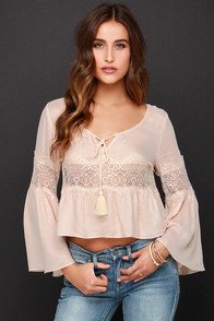 Bell No Tales Pale Blush Lace Long Sleeve Top at Lulus.com!
