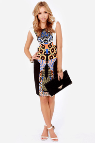 International Sensation Beaded Black Print Dress at Lulus.com!